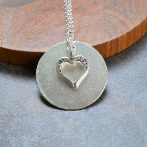 Luna Tree Silver Jewellery - Mae Heart Disc Necklace