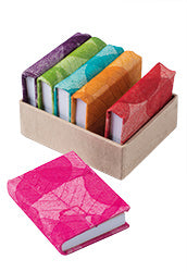 Leaf design mini Lokta paper notebooks - 6 colours