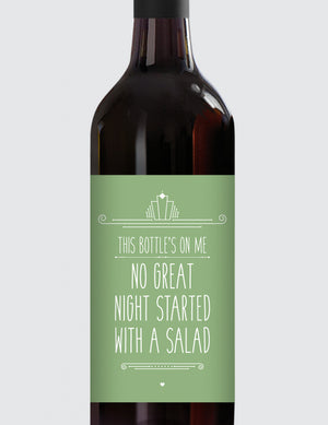Message Bottle Labels - No Great Night Started...