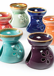 Flower design ceramic fragrance oil burner - choice of 6 colours