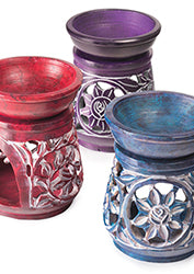 Soapstone Floral Design Oil Burners - Choice of 3 colours