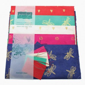 Lokta paper mixed gift wrap with tags
