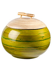 Lacquer spun bamboo round pot - choice of 2 colours