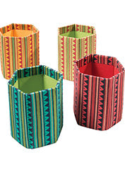 Funky Fabric-covered Pen Pot - Choice of 4 colours
