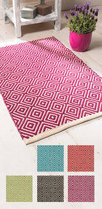 Diamond weave cotton handloom rugs - 60cm x 90cm