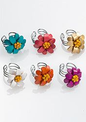 Leather flower adjustable rings - choice of 4 colours