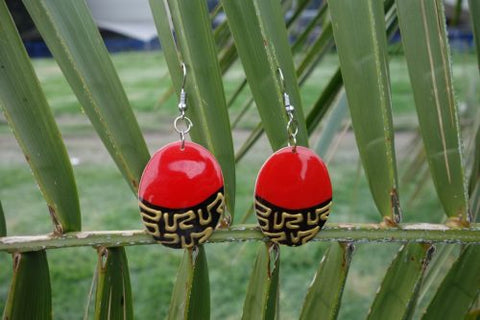 Totumo fruit earrings - Pequena Red