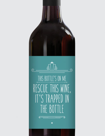 Message Bottle Labels - Rescue This Wine...
