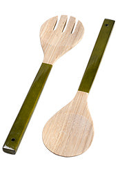 Lacquer spun bamboo salad servers - choice of 2 colours