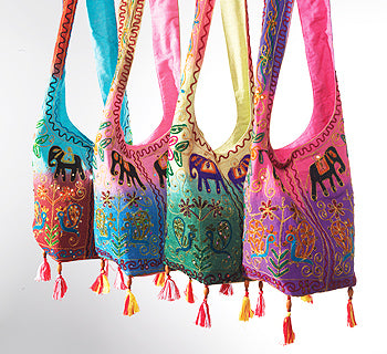 Indian Shoulder Bag with Peacock Embroidery