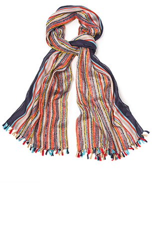 100% Cotton Indian Striped Scarf - Choice of 3 colours