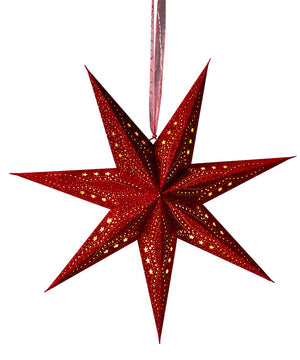 Velvet Star Decoration with Glitter and LEDs