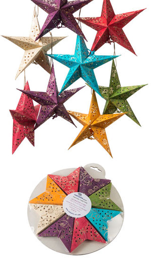 Pack of 8 Handmade Paper Stars Gold Flower Batik