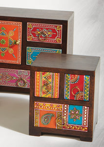 Hand-painted mango wood 3-drawer chest