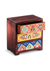 Hand-painted mango wood large 3-drawer chest