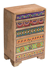 Hand-painted Mango Wood 6-drawer Indian Chest