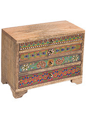 Hand-painted mango wood large 4-drawer chest