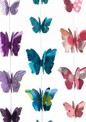 Handmade String of 3D Paper Butterflies - Choice of 3 colours