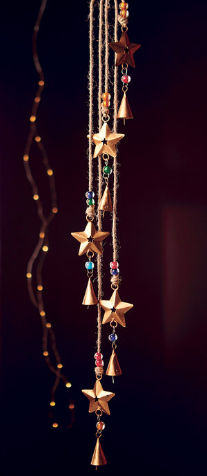 String of 5 Stars with Bells