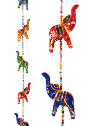 Decorative string of multi-coloured elephantss - 5 elephants with bell
