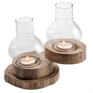 Whitewash Teak Wood & Glass Tealight Lamps - 2 lights