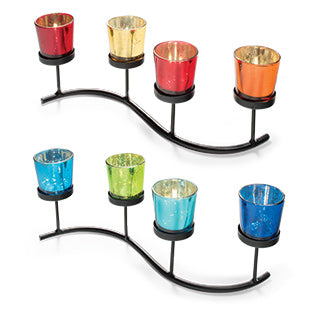 4 Glass tealight holders on an iron stand - Choice of 2 colourways
