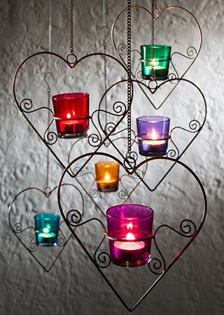 Iron and Glass Hanging Tealight Holder - Choice of 6 Colours