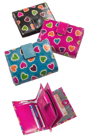 Heart Printed Leather Purse - Choice of 3 colours