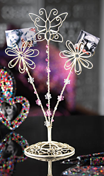 Wirework Beaded Flower & Butterfly Photo Holder