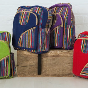 Nepalese Woven Canvas Backpack - Choice of 4 colours