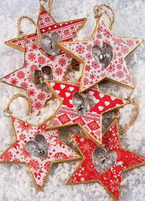 Wooden Christmas Tree Decoration with a Bell - Star