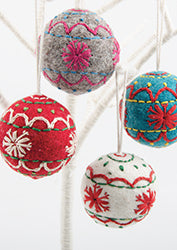 Felt Christmas Tree Decorations - Embroidered Baubles