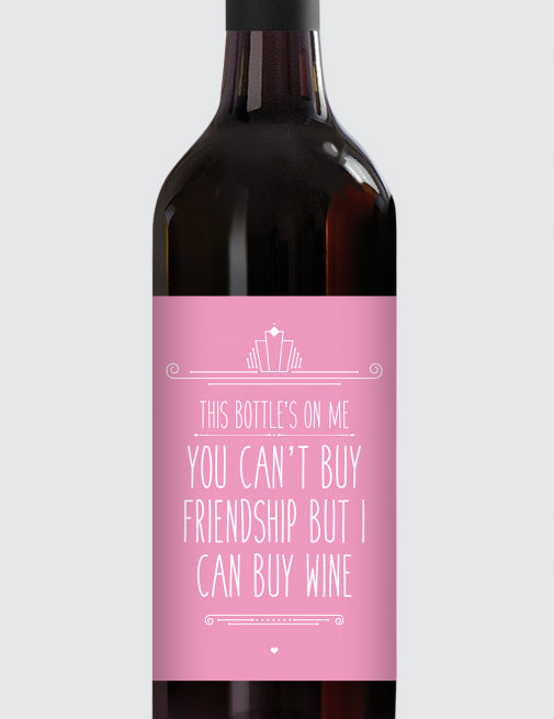 Message Bottle Labels - You Can't Buy Friendship...