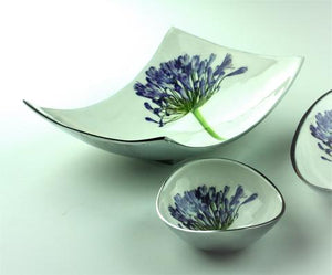 Recycled aluminium rectangular display dish - Agapanthus