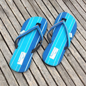 Whaletreads: Recycled Tyre Flip-flops - Blue Stripe