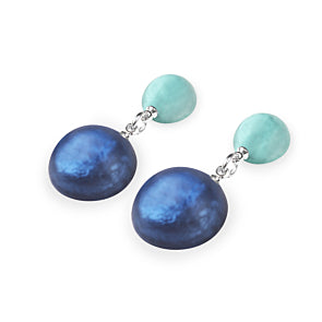 Cabouchon Double Drop Matte Earrings - Choice of 4 Colours