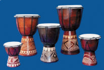Dot-painted Wooden Djembes - Choice of 2 sizes
