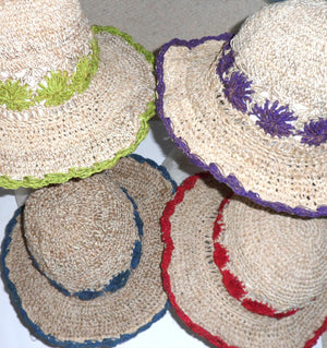 Handmade Hemp & Cotton Crocheted Sunhat - Choice of 4 colours