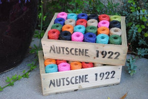 Nutscene: Wooden Crate of Mini Heritage Twines in Multi-colours