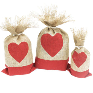 Jute Christmas Gift Pouches - Heart (Set of 3)