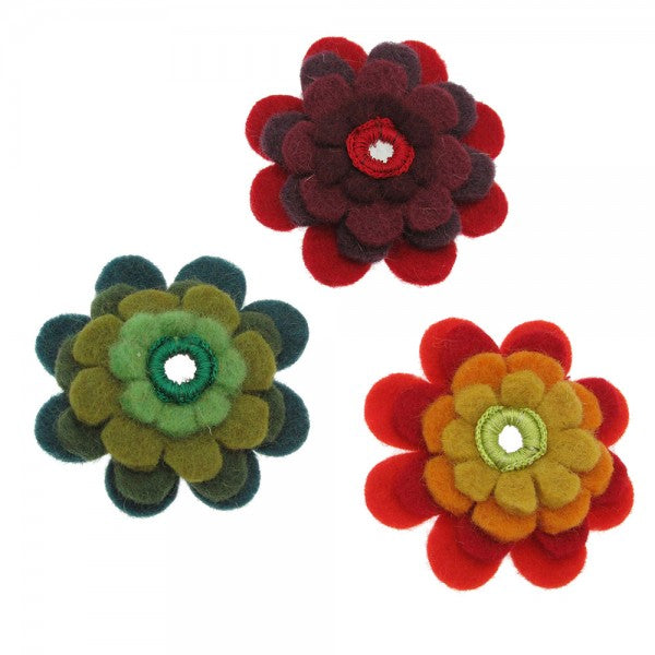 Felt Flower Brooch - Choice of 3 colours