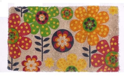 Funky Flower Design Coconut Fibre Doormat