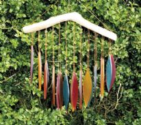 Recycled Glass Windchimes - Autumn Falling Leaves