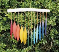 Recycled Glass Windchimes - Rainbow Falling Leaves