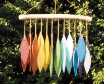Recycled Glass Windchimes - Rainbow Leaves