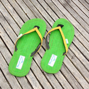 Whaletreads: Recycled Tyre Flip-flops - Green Hemp