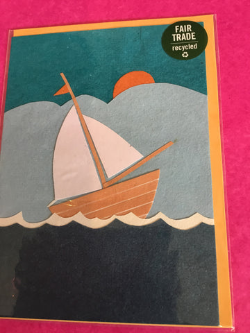 Handmade recycled paper card - Sail away