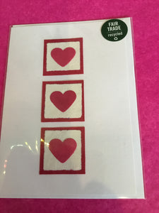 Handmade recycled paper card - Pink hearts