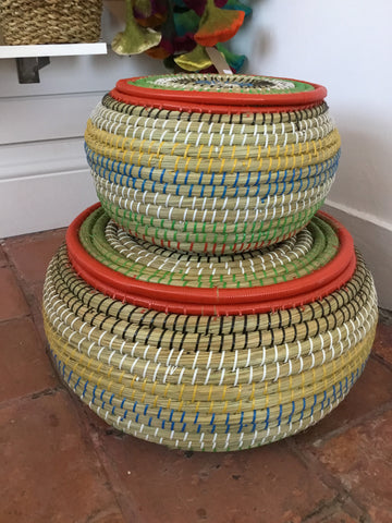 Colourful lidded baskets