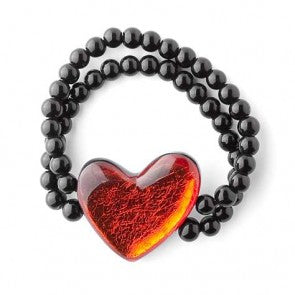 Love Heart Bracelet with Glass Beads - Choice of 7 colours